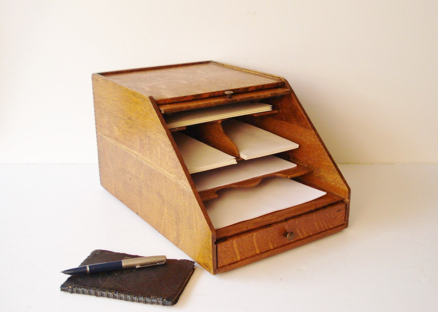 Antique desk stationery organizer weis letter sorter - Desk stationery organiser ...