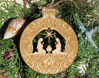 Manger Scene Wood Nativity Christmas Ornament laser engraved laser cut