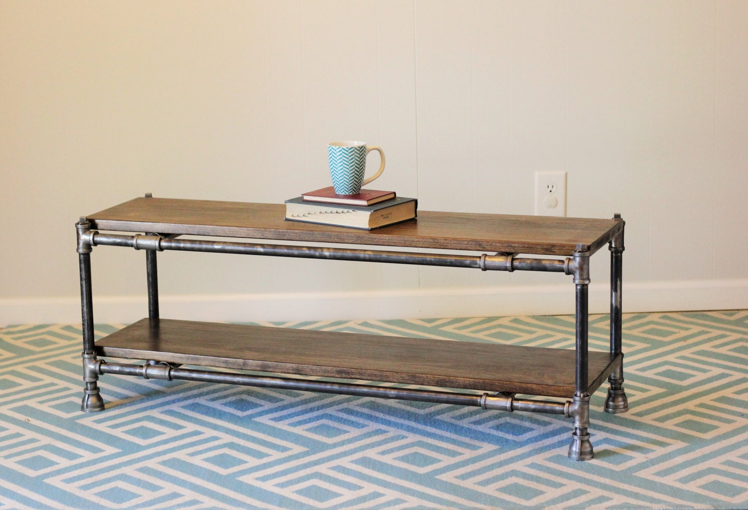 pipe and wood coffee table by yoderswoodedlot on etsy. Black Bedroom Furniture Sets. Home Design Ideas