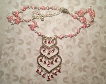 1 Silverplated Heart Necklace with Pink Rhinestones