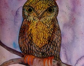 Owl Painting Watercolor Ink Bird Landscape Owl Decor Brown Purple Bird Modern Art Contemporary Art Owl Wall Art Owl Fine Art Original Bird