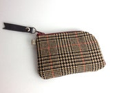 Small Plaid Brown Personal Card Zipper Pouch Wallet