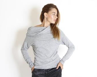 Wide golf top, long sleeves shirt, fit top, gray versatile top, modern drape top, cowl neck basic shirt, winter top, casual, minimal style