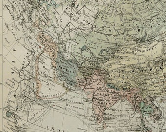1897 Antique map of ASIA. 120 years old chart.