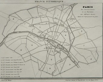 1838 Antique city map of PARIS, FRANCE. 178 years old chart