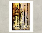 Venise Et Le Lido Travel Print 1920 - 8.5 x 11 Print -  also available in 11x14 and 13x19 - see listing details