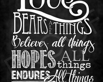 Scripture Art - I Corinthians 13:7 Chalkboard Style
