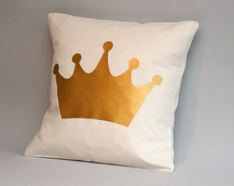 Nursery crown pillow, metallic gold pillow, nursery cushion,crown cushion, nursery decor 16x16, 18x18, 20x20, 24x 24, 26x26, accent pillow