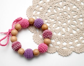 Pink & Lavender Teething Bracelet / Teething Toy juniper wood, eco-friendly jewelry