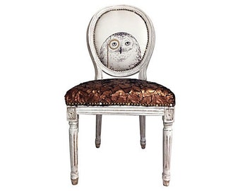 French Louis Dining Chair Painted and Upholstered in Fur and Owl Upholstery Fabric White Gold Brass Distressed Side Chair