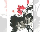"Watercolor Chinese Brush Painting Cards  ""lotus flower"""