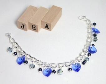 Formal/Wedding/Bridesmaid/Everyday Swarovski crystal chain bracelet - Sapphire
