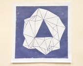 linocut - GEM - 12x12 / printmaking / block print / geometric / amethyst / purple / hand-pulled print / original art / nature art