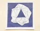 linocut - GEM - 12x12 / printmaking / block print / geometric / amethyst / purple / hand-pulled print / original art / nature art