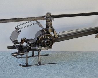 Hand Made HELICOPTER ARMY Military Recycled Scrap Metal