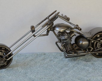 Hand Made CHOPPER HARELEY Morocycle Recycled Scrap Metal