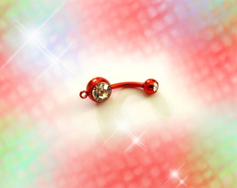 Titanium Shimmery Ruby Red Belly Ring Barbell Charm Holder & Clear Crystals, Belly Button Ring, Belly Button Jewelry, For Women, Teens