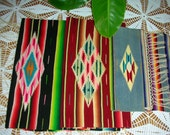Three Sizes Vintage Mid Century Mexican Wool Table Runners Bright Color Diamond Center