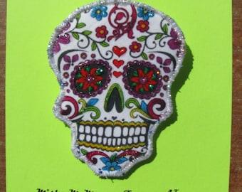 Day of the Dead Sugar Skull Brooch Fiber Art Pin