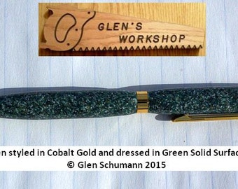 Ballpoint Pen Handmade Twist Pen Cobalt Gold and Green Sprinkle Acrylic Corian Pen Cross Pen