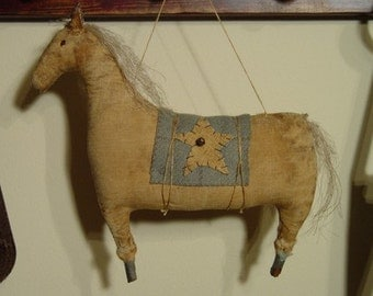 Primitive Folk Art Early Style Horse Doll Ornie  E-Pattern Sweetpeas Primitives