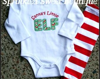 Santa's Little Elf Appliqué Custom Baby  Christmas Romper Shirt First Christmas Shirt Only