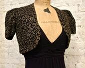 30s Schiaparelli-Style Bolero Jacket - Rayon Crepe with Gold Boullion Embroidery - XS