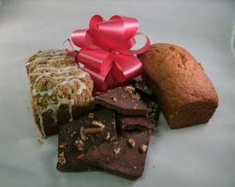 Half lb.Dark Chocolate Sea Salt topped Toffee wPecans and Two Breads of your choice FREE SHIPPING.holiday gift, gift ideas. Homemade treats