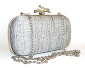 Box Clutch Minaudière Clamshell Purse, Silver Grey and Black Tweed Linen Elegant Evening Clutch, Bridal Clutch, Lined with Black UltraSuede