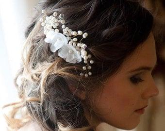 Bridal hair comb, Wedding hair accessories, Flower hair comb, Pearl hair comb, Hair accessories, Bridal hair piece,Flower hair piece