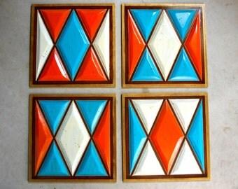 Vintage Wall Decor     Set of Four   Orange Blue and White Wooden Panels