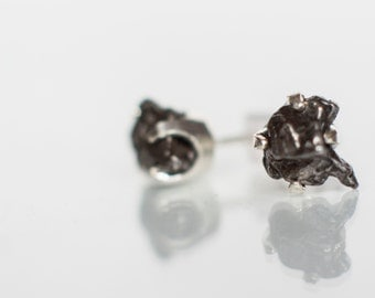 Meteorite Earrings with Sterling Silver and Campo del Cielo (Large)