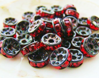 7mm Black Patina Ruby Red Rhinestone Rondelle Spacers Beads Austrian Crystal - 10