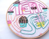 ON SALE! Treat Yo Self Cupcakes Embroidery Hoop Art : Parks and Rec TV Quote Hand Embroidered - Bright Colorful Home Decor Large Hoop