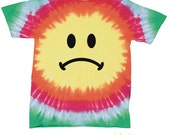 Sad Smiley Face Printed Adult Tie-Dye Shirt