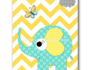 Yellow and Gray Baby Room Decor Elephant Nursery Art Print Baby Nursery Decor Baby Boy Nursery Print Kids Wall Art Kids Art Boy Print