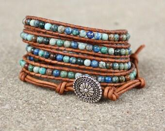 blue chrysocolla beaded leather wrap bracelet teal green light brown boho 5 strand