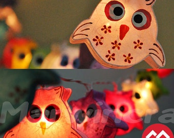 20 OWL LANTERN Paper Handmade Fairy String Lights Party Patio Wedding Floor Table or Hanging Gift Home Decor Children Bedroom