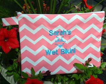 Personalized Wet Bikini Bag, Wet Bathing Suit Bag, Bikini Tote, Beach Bag, Beach Tote, Pool Bag, Bridesmaid Gift, Party Favor, Custom Fabric