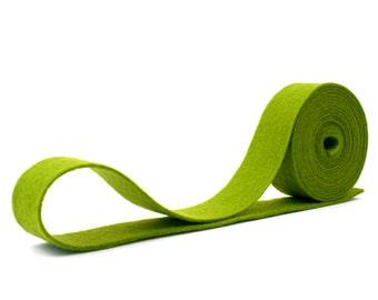 "100 Percent Wool Felt Ribbon in color WILLOW  -  3/4"" X 2 Yards - Merino Wool Felt - Green Ribbon - Willow Ribbon"