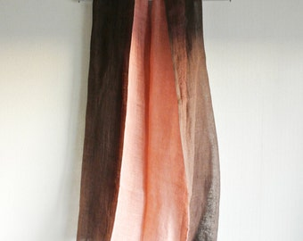 S A L E  Natural (Madder / Cherry) dyed reversible Linen scarf