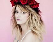 Scarlet Rose Floral Crown, flower crown, floral crown, flower headband, boho crown, boho floral crown, festival wear, boho hair accessories