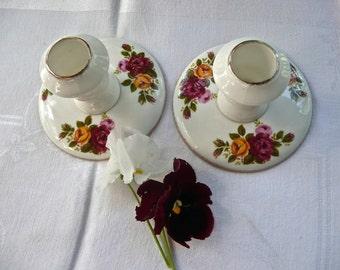 SALE - Candleholders - Cottage Roses Pattern - Vintage Sticks - Bone China - Short - Table Ornamemt - Formal Dining - Wedding Entertaining