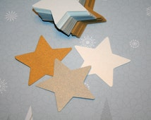 "White, Silver & Gold Shimmering Star Die Cuts - Measures 2.5"" x 2.5"" - Package of 50 - Custom Orders Welcomed - Christmas-Card Making-Crafts"
