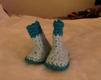 baby Girl Rain Boots Crocheted, Turquoise and light tourquoise Booties or Color of Your Choice