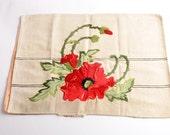 Vintage silk embroidery poppies – Society Silk embroidered pillow top – vintage embroidery flowers red