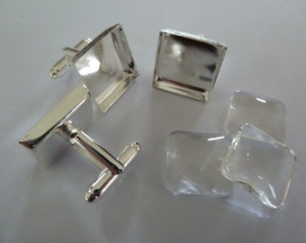 10 x Square Silver plated cufflinks AND matching glass domes 15mm