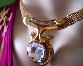 Crystal Ball Pendant Sparkly Disco Glam Necklace 1980s Gold Plated Dolphins White Rhinestones Clear Crystal Stone