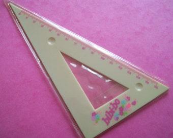 Bi-Bi-Bo Ruler. 80s El Greco Toys. Vintage Doll Accessories. Nude Pink Peach Triangular Ruler. GVS, VC, Blossom, MTO