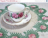 SALE Vintage Doily Pink Roses Crocheted White Green Cotton